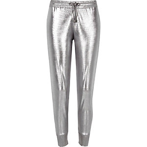 Silver jersey joggers