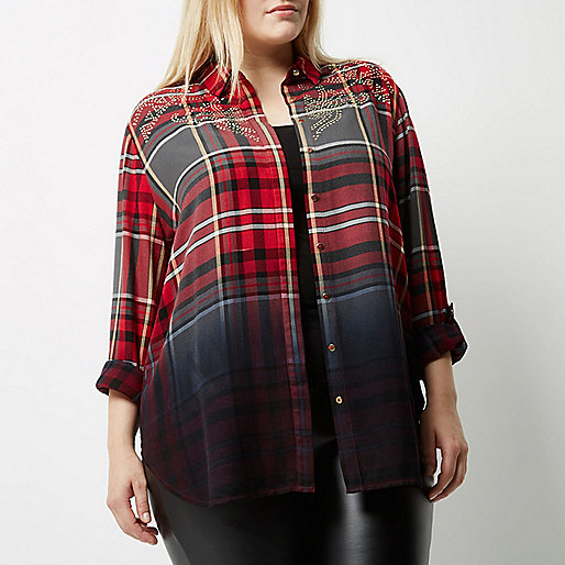 Plus red dip dye check western shirt