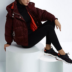RI Studio red cropped puffer jacket with hood