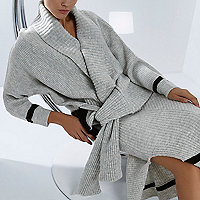 RI Studio grey knit tied hem wrap cardigan