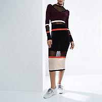RI Studio black stripe knit sheer panel dress