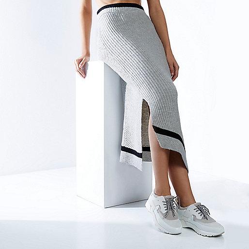 RI Studio grey knit asymmetric wrap skirt
