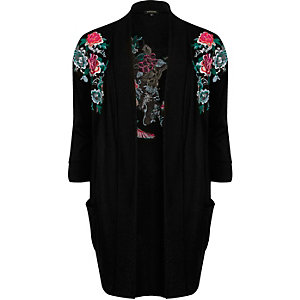 Black embroidered open cardigan