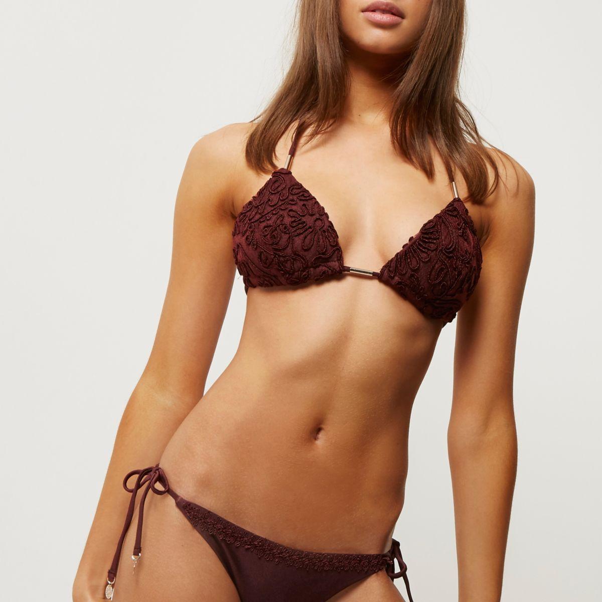 Dark red cornelli string bikini top