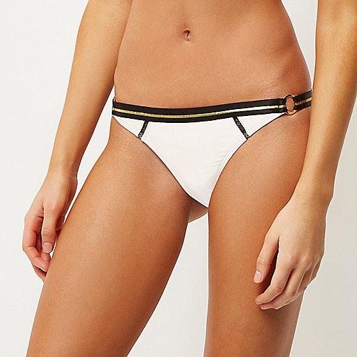 White ring side bikini bottoms