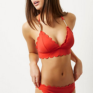Red scalloped T-bar bikini top