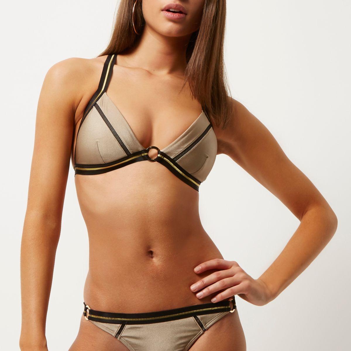 Gold strappy ring bikini top