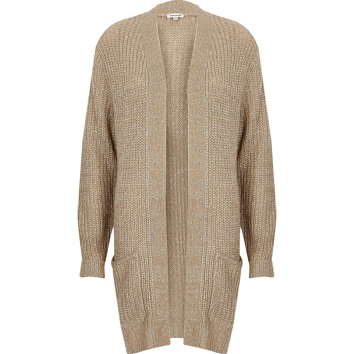 Beige knit sequin cardigan