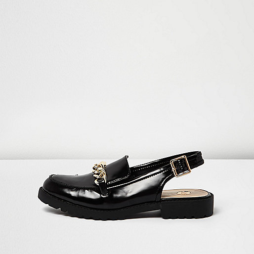 Black patent slingback loafers