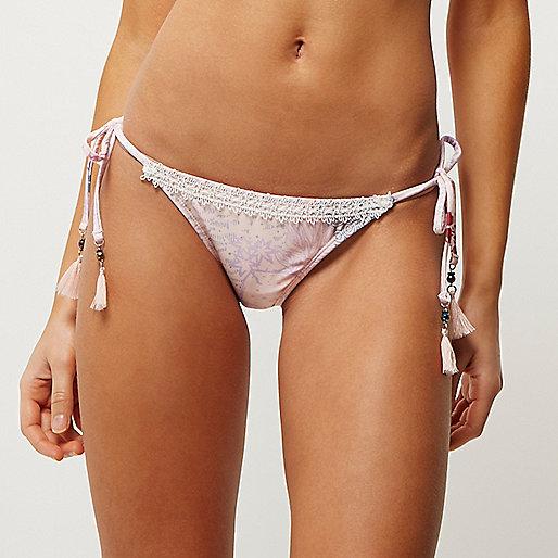 Pink print lace string bikini bottoms