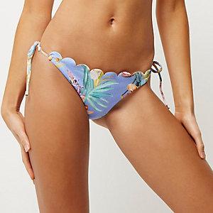 Bas de bikini festonné bleu à fleurs