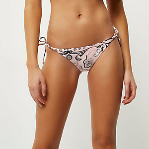 Pink printed jewel tie side bikini bottoms