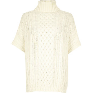Cream cable knit short sleeve poncho