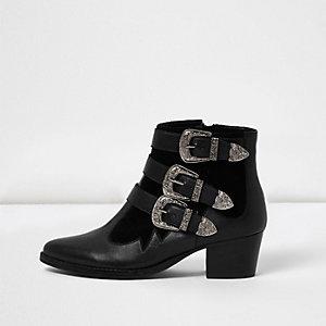Bottes en cuir noir style western avec brides à boucle