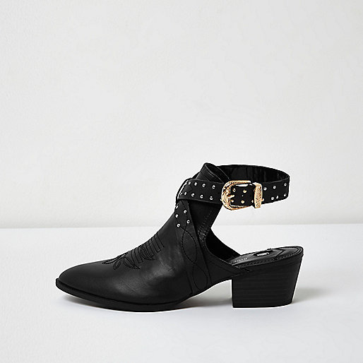Black stud backless western boot