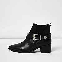 Black cross strap western boots