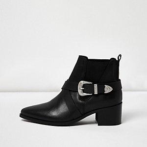 Black cross strap western boots