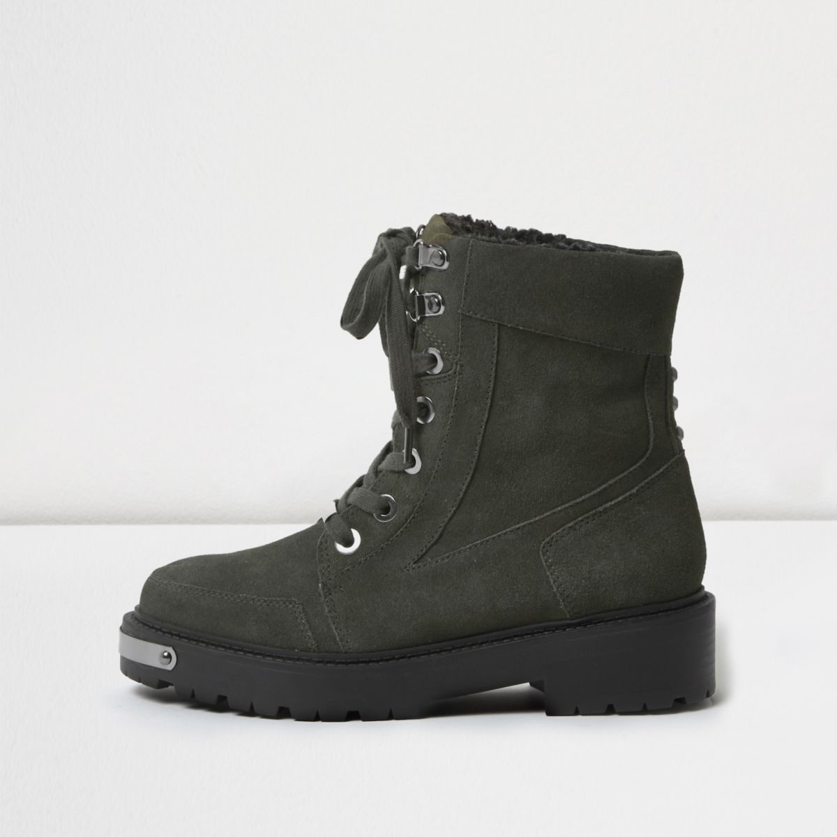Khaki green suede chunky lace-up boots