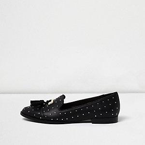 Black studded tassel loafers