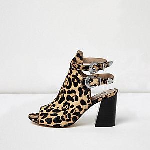 Leopard print western buckle shoe boots