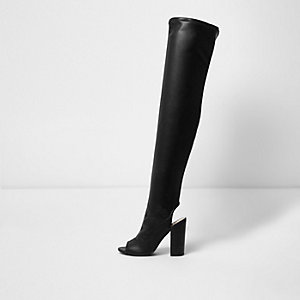 Black peeptoe stretch over-the-knee boots