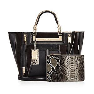 Zwarte handtas met portemonnee