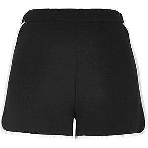 Black woven sporty shorts