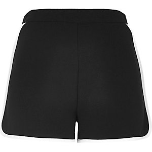 Black woven sporty shorts