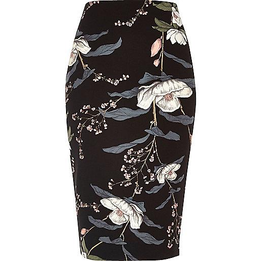 Black floral print long length pencil skirt