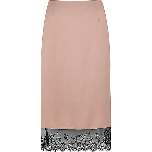 Light pink lace hem pencil skirt