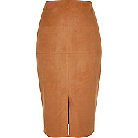 Tan faux suede pencil skirt