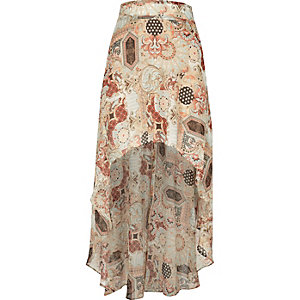 Cream print chiffon maxi skirt