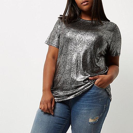 T-shirt Plus argenté métallisé