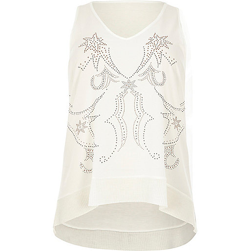 Plus cream studded western tank top