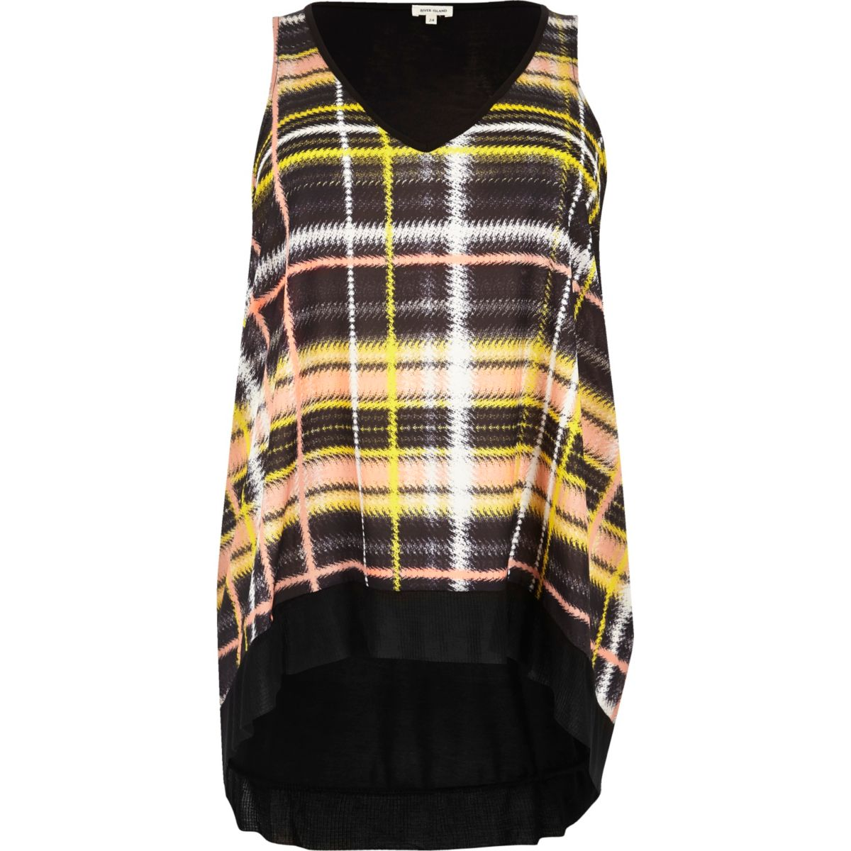 Plus yellow check V-neck tank top