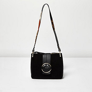 Black suede ring strap shoulder bag