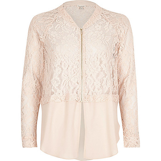 Light pink lace woven hem bomber jacket