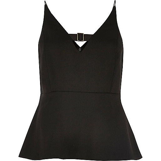 Black buckle strap peplum top