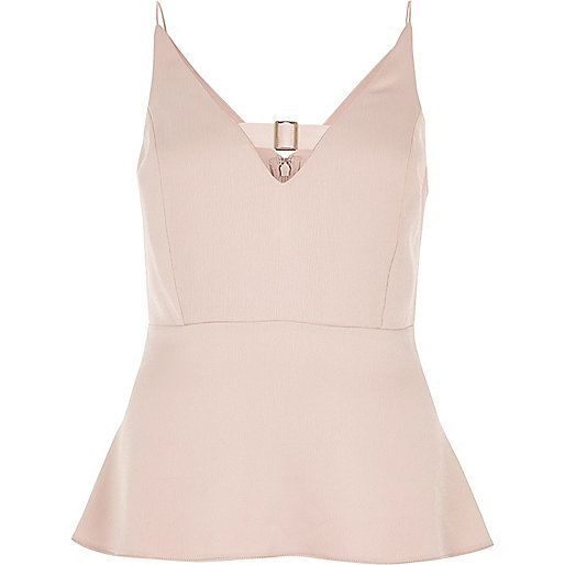 Pink buckle strap peplum top
