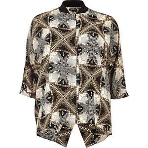 Plus black print popper shirt