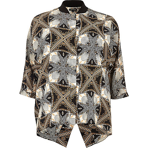 Plus black print popper shirt