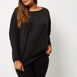 Plus dark grey batwing top