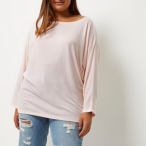 Plus light pink batwing top