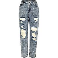 Light blue acid wash Mom jeans