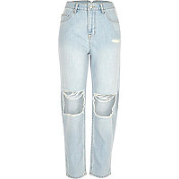 Light blue wash ripped Mom jeans