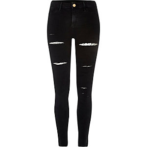 Black slashed leg Molly jeggings