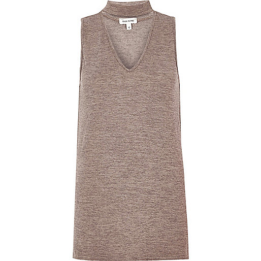 Grey sleeveless choker top