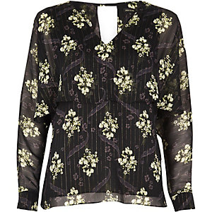 Black floral print angel cape top