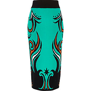 Turquoise intarsia knit pencil skirt