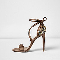 Light brown embellished heel sandals